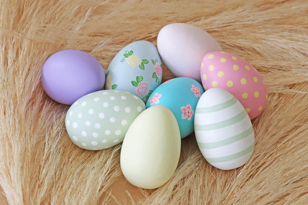Decorated Pastel Wooden Eggs