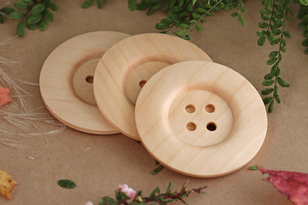 Wood Buttons Pack - Large 6cm