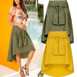 Fashion Pure Color Irregular Hem Skirt - Sheaim