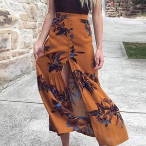 Fashion Floral Printed Slit Beach Maxi Skirt