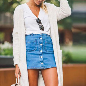Fashion Denim Button Beaut Skirt - Sheaim