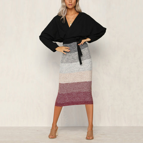 Sexy Color Matching Knit Bag Hip Slim Skirt