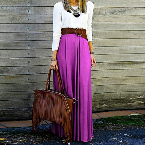 Fashion Temperament Pure Color Skirt