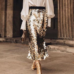 Fashion Sequins Elegant Slit Skirt