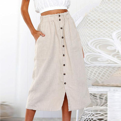 Decorative  Buttons  Plain  Casual  Skirts - Sheaim