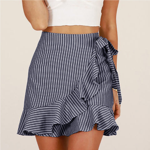 Fashion Vertical Striped Strap Skirt