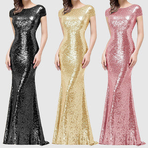 Sexy back pile pile collar solid color sequins party Maxi dress