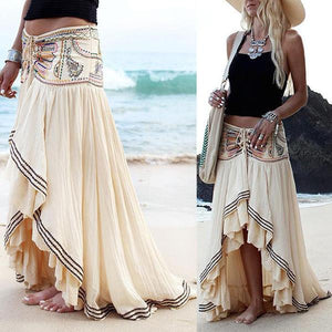 Bohemia Style Irregular Hem Beach Skirt - Sheaim