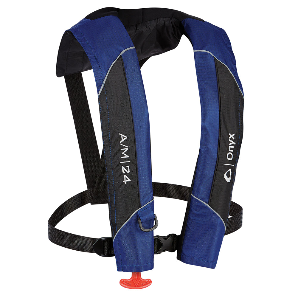 Onyx A/M-24 Automatic/Manual Inflatable PFD Life Jacket - Blue [132000-500-004-15] | Catamaran Supply