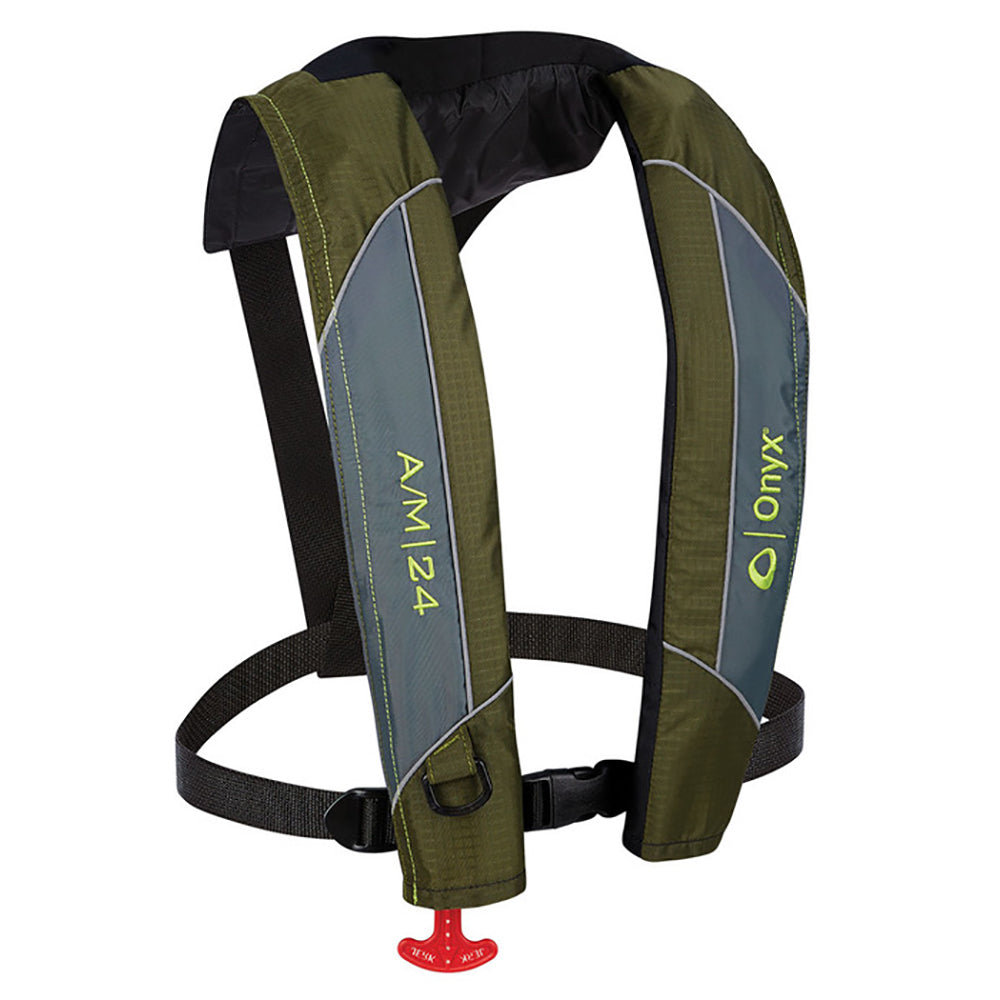 Onyx A/M-24 Automatic/Manual Inflatable PFD Life Jacket - Green [132000-400-004-18] | Catamaran Supply