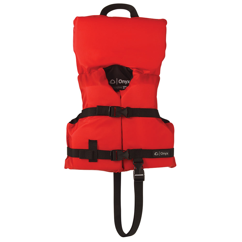 Onyx Nylon General Purpose Life Jacket - Infant/Child Under 50lbs - Red [103000-100-000-12] | Catamaran Supply