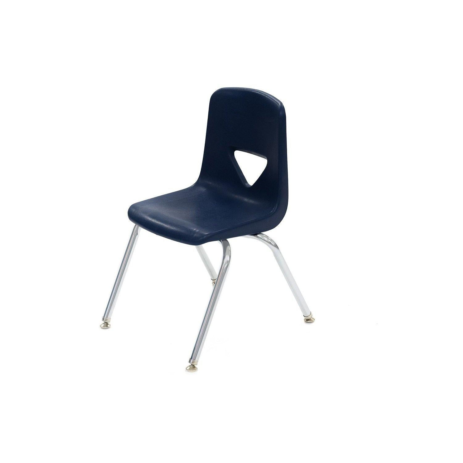 120 Series Stack Chairs, Navy Shell with Chrome Frame - QUICK SHIP
