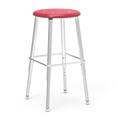 "121 Series Lab Stools with Hard Plastic Seats-Stools-19"" - 27"", Adj.-Red-"
