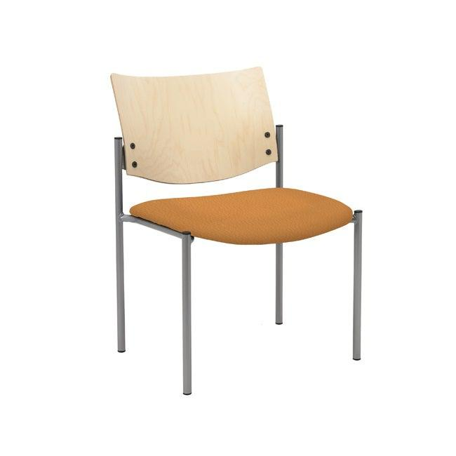 Evolve Stack Chair, Wood Back, Padded Seat with Healthcare Vinyl Upholstery