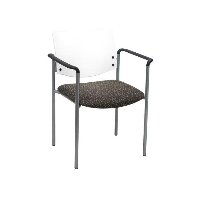 Evolve Stack Chair with Arms, Wood Back, Padded Seat with Fabric Upholstery