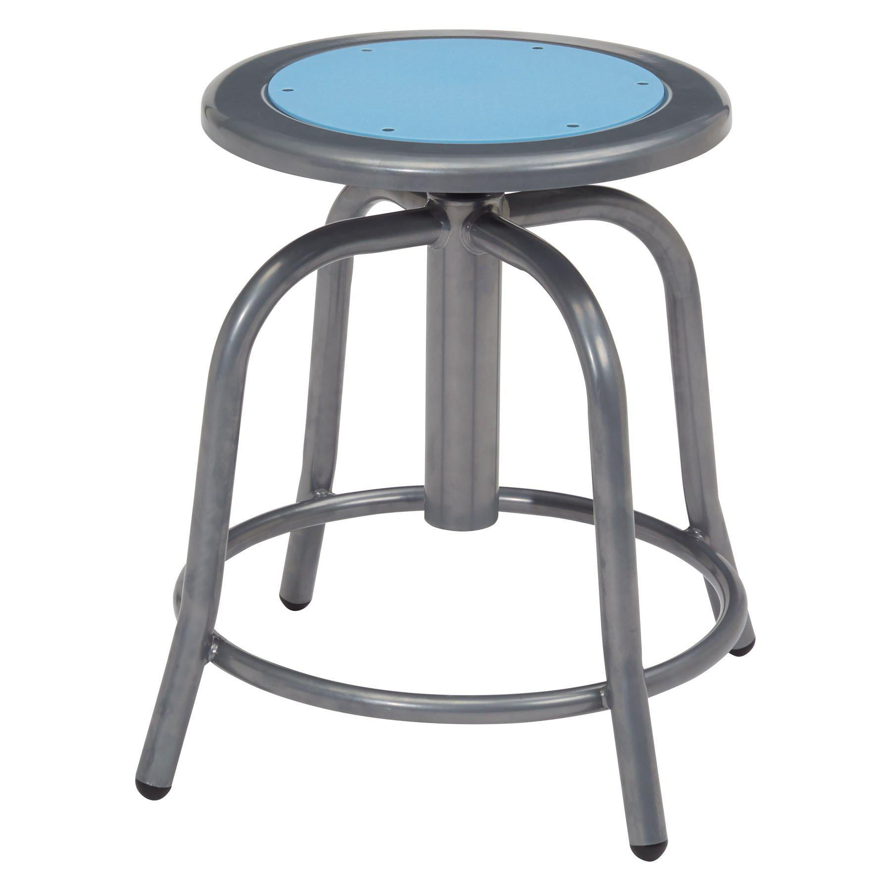 "18"" - 24"" Height Adjustable Swivel Stool-Stools-Blueberry Seat/Grey Frame-"