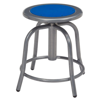 "18"" - 24"" Height Adjustable Swivel Stool-Stools-Persian Blue Seat/Grey Frame-"