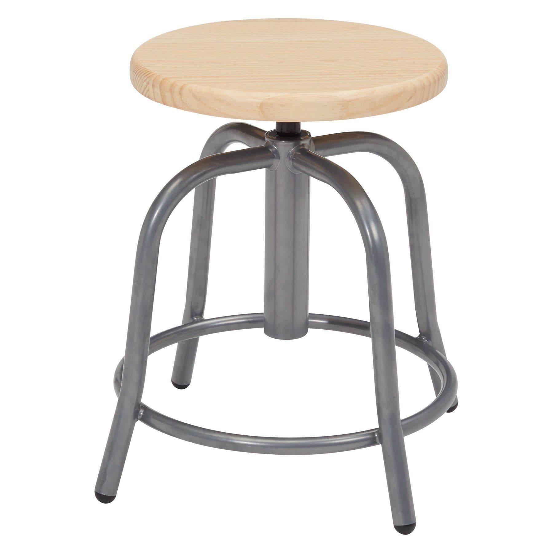 "19"" - 25"" Height Adjustable Swivel Stool, Wooden Seat and Steel Frame-Stools-Grey-"