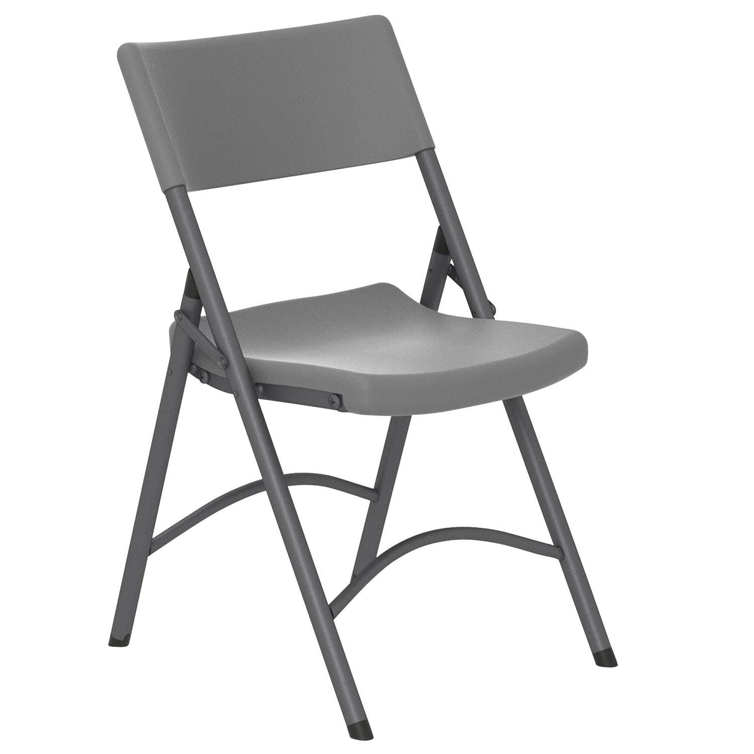 Dorel Zown Classic Commercial Heavy-Duty Resin Plastic Folding Chair, Grey