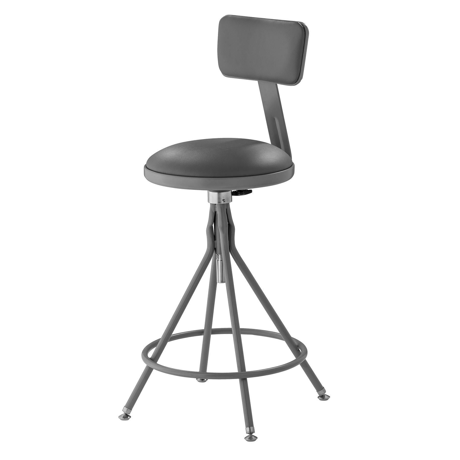 "24""-28"" Height Adjustable Heavy Duty Vinyl Padded Swivel Steel Stool With Backrest, Grey-Stools-"