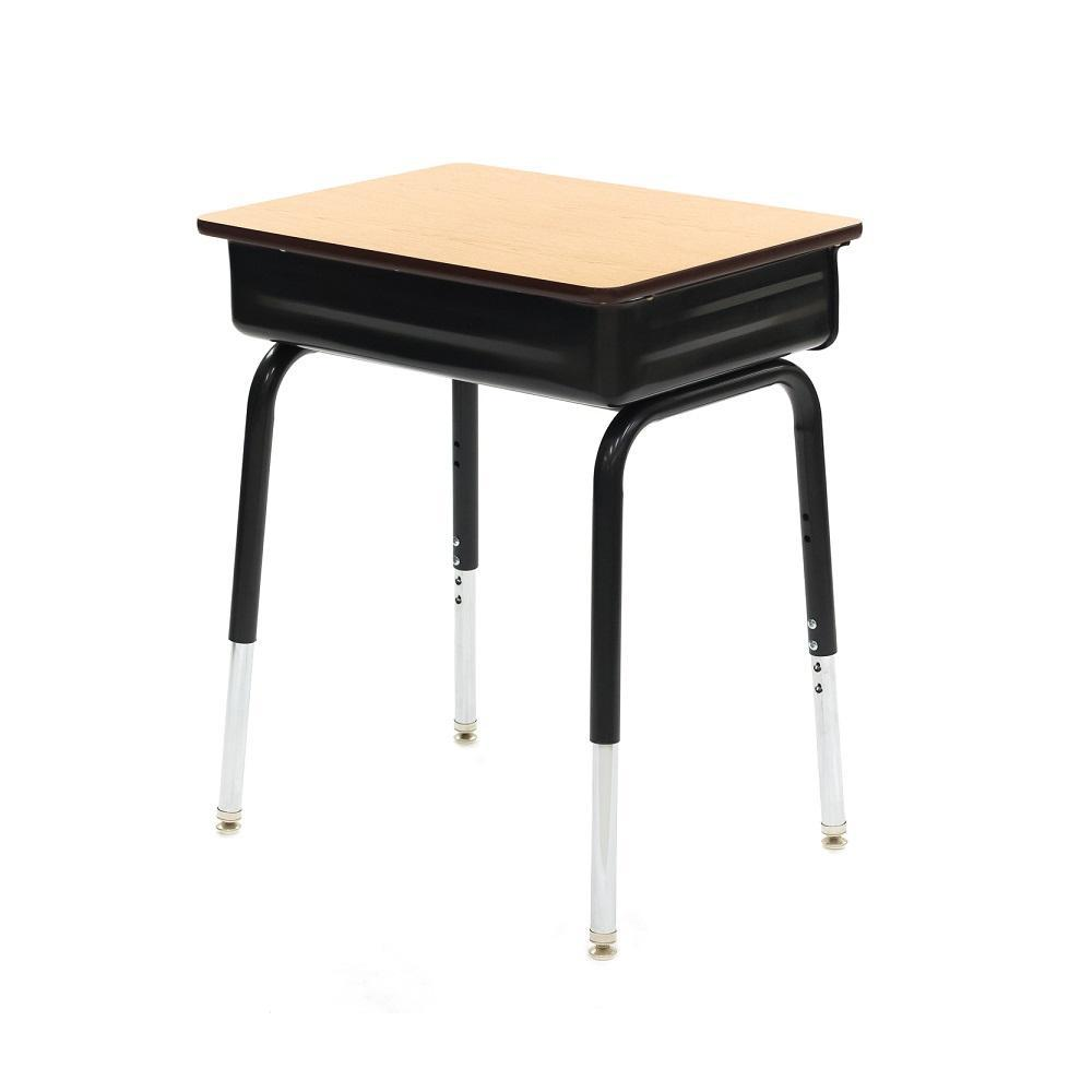 Open Front Adjustable Height Desk with Metal Bookbox, High-Pressure Laminate Top