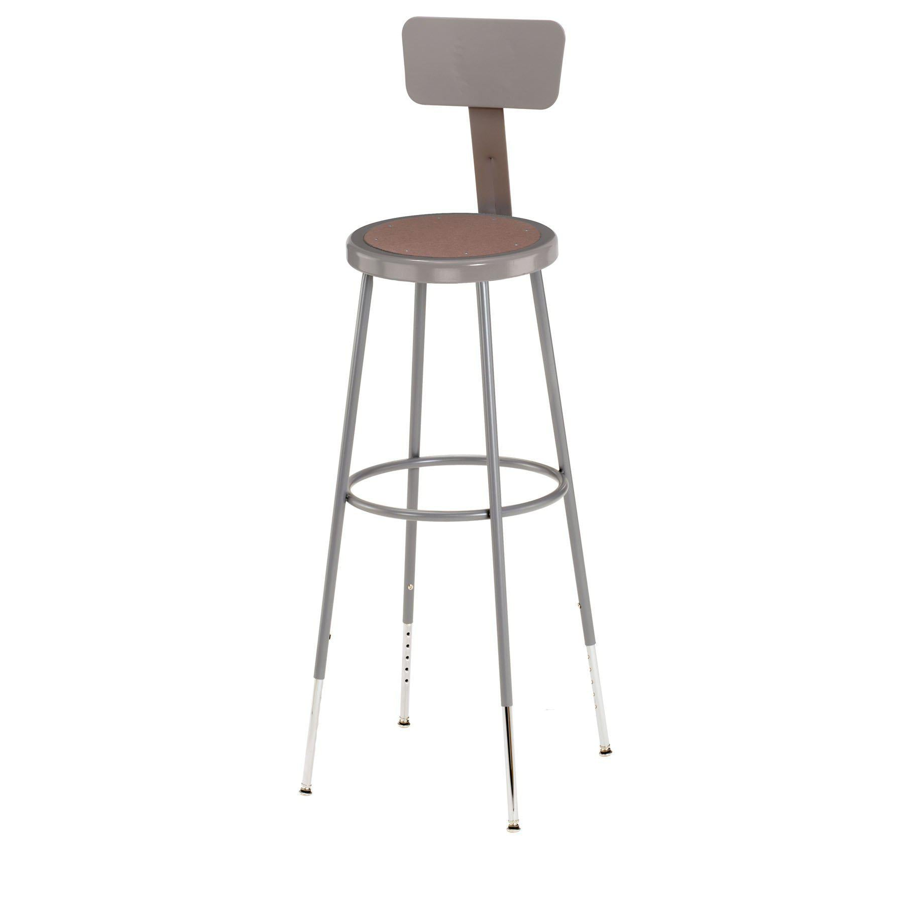 "32""-39"" Height Adjustable Heavy Duty Steel Stool With Backrest, Grey-Stools-"