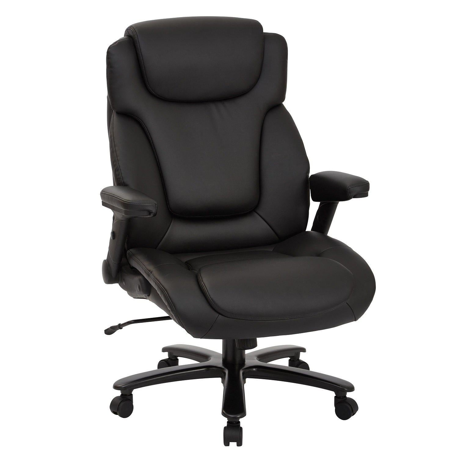 Big and Tall Deluxe High Back Bonded Leather Executive Chair with Padded Flip Arms
