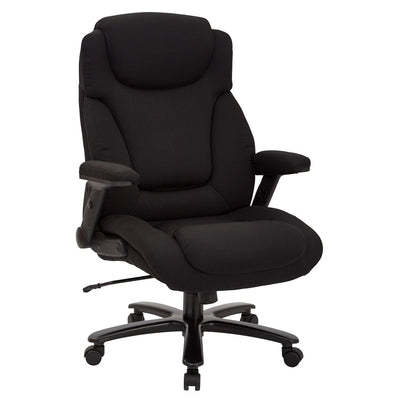 Big and Tall Deluxe High Back Black Fabric Executive Chair with Padded Flip Arms