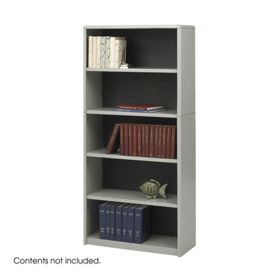5-Shelf ValueMate® Economy Bookcase-Storage Cabinets & Shelving-Gray-