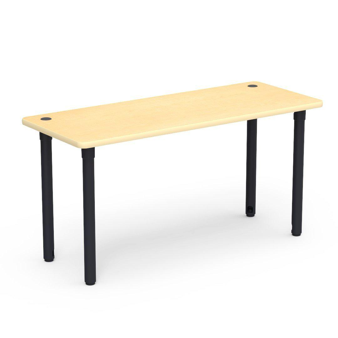 "5700 Series Technology Tables, 30"" Fixed Height-Tables-24"" x 60""-Char Black-Fusion Maple with Fusion Maple Edge Banding"