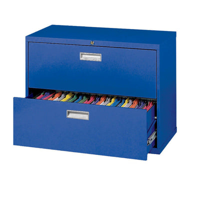 600 Series Lateral File, 2 Drawer, 36 x 19.25 x 28.375, Blue