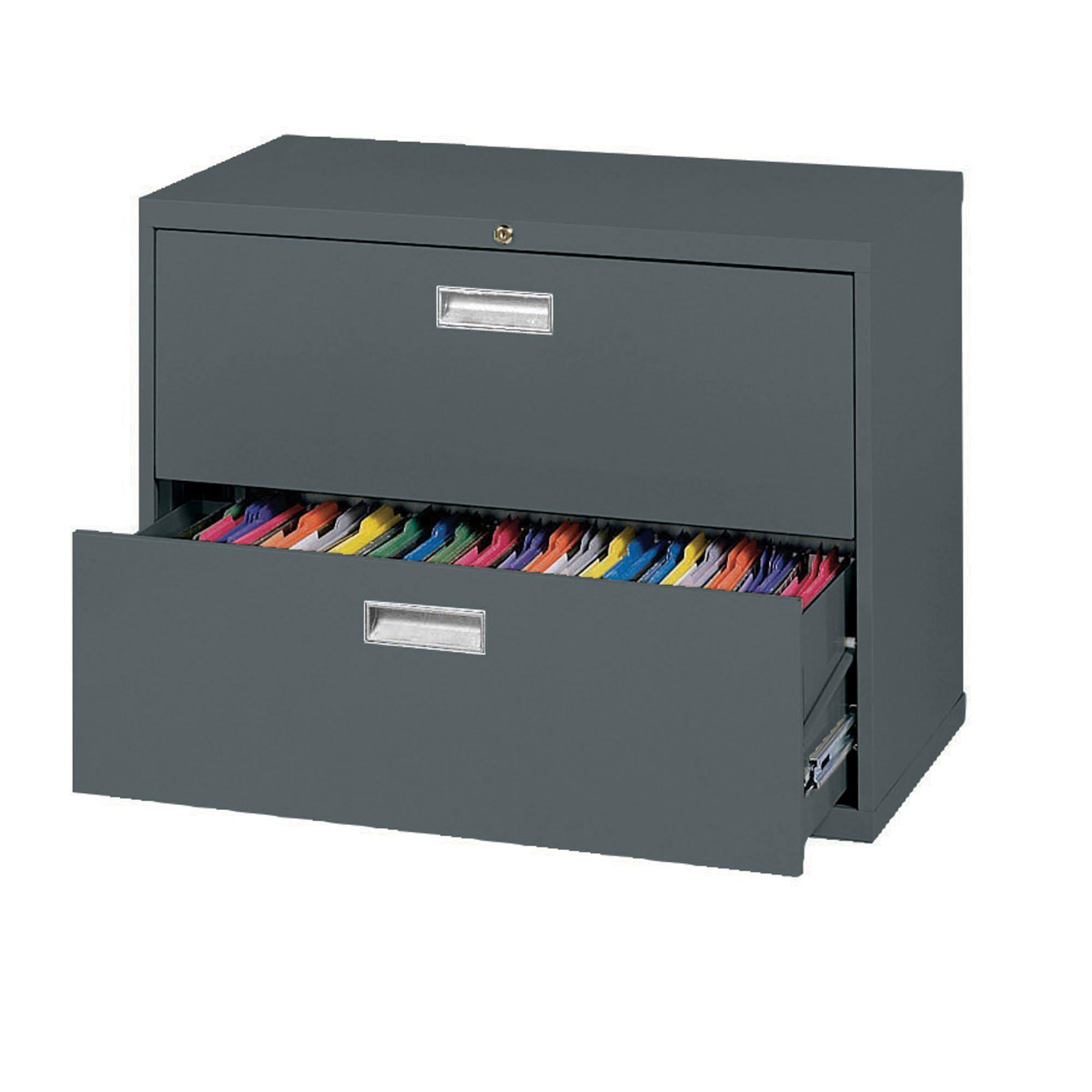 600 Series Lateral File, 2 Drawer, 36 x 19.25 x 28.375, Charcoal