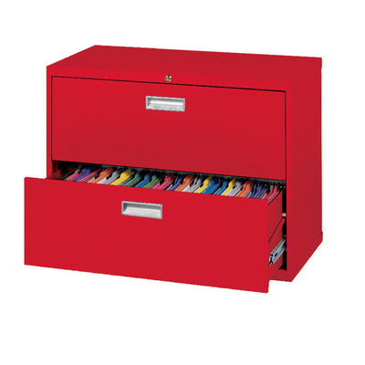 600 Series Lateral File, 2 Drawer, 36 x 19.25 x 28.375, Red