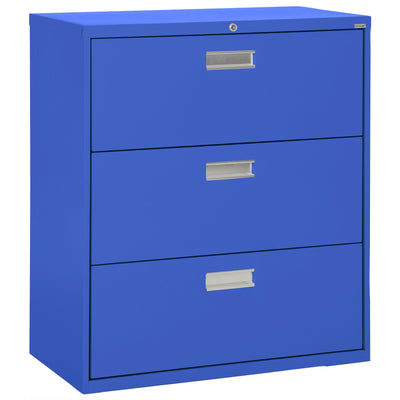 600 Series Lateral File, 3 Drawer, 42 x 19.25 x 40.875, Blue