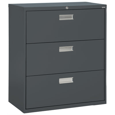 600 Series Lateral File, 3 Drawer, 42 x 19.25 x 40.875, Charcoal