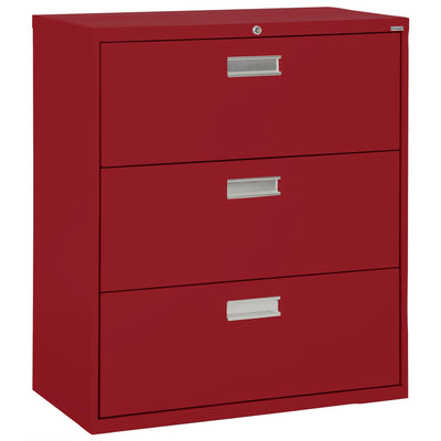 600 Series Lateral File, 3 Drawer, 42 x 19.25 x 40.875, Red