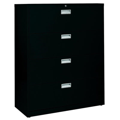 600 Series Lateral File, 4 Drawer, 42 x 19.25 x 53.25, Black