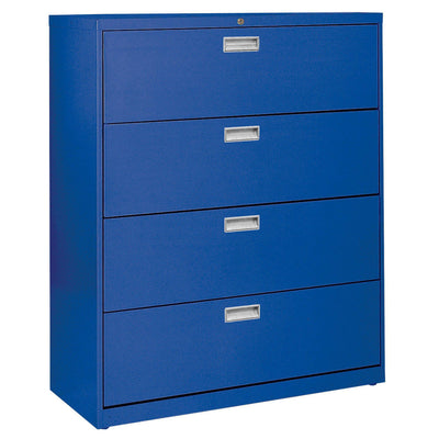 600 Series Lateral File, 4 Drawer, 42 x 19.25 x 53.25, Blue