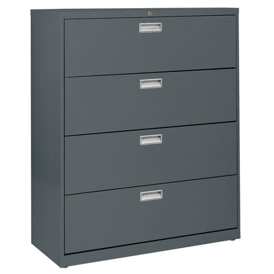 600 Series Lateral File, 4 Drawer, 42 x 19.25 x 53.25, Charcoal