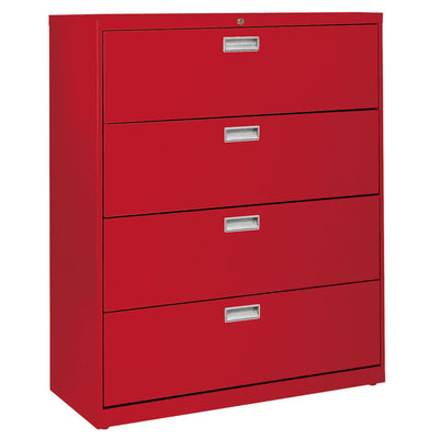 600 Series Lateral File, 4 Drawer, 42 x 19.25 x 53.25, Red