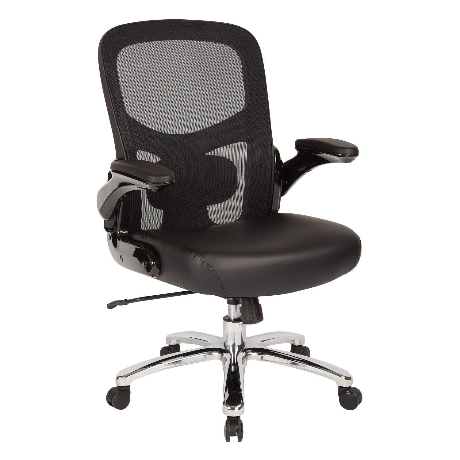 Big and Tall Mesh Back Chair with Black Bonded Leather Seat
