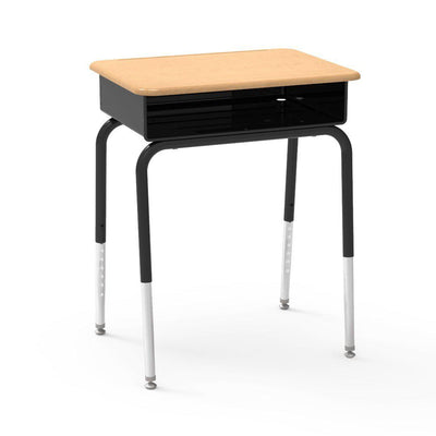 785 Series Open-Front Student Desk with Metal Book Box, Hard Plastic Top-Desks-Fusion Maple-