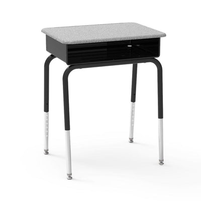 785 Series Open-Front Student Desk with Metal Book Box, Hard Plastic Top-Desks-Grey Nebula-
