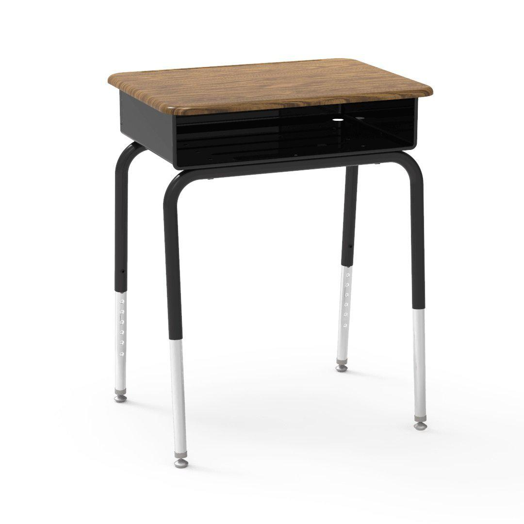 785 Series Open-Front Student Desk with Metal Book Box, Hard Plastic Top-Desks-Medium Oak-