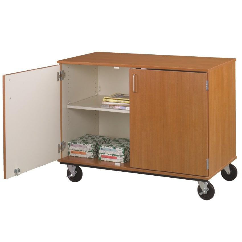 "Closed Divided Mobile Shelf Storage, Lockable, 36"" High"