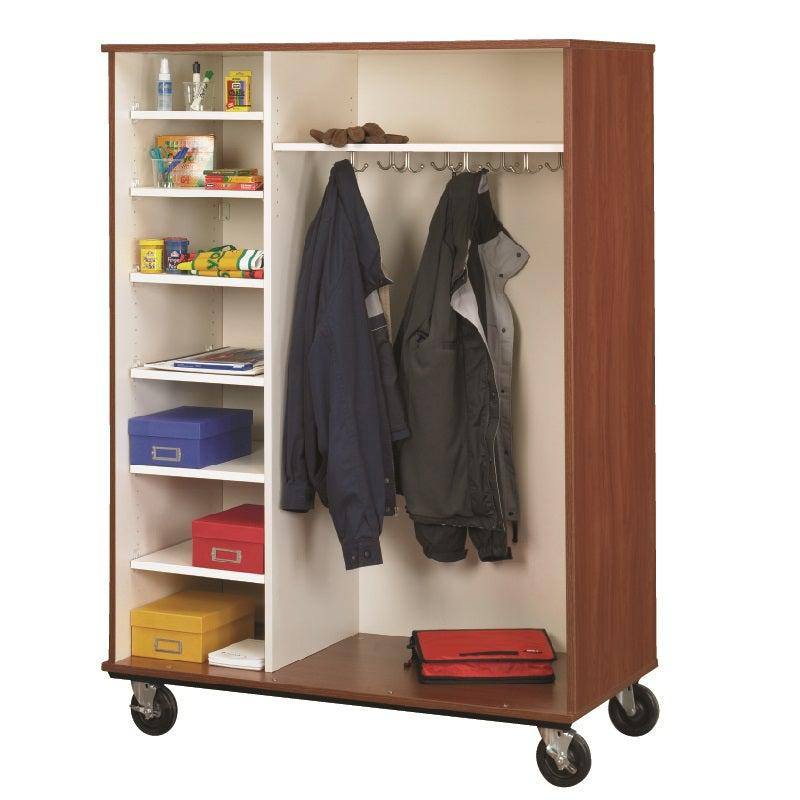 Open Shelf And Coat Combo Mobile Storage Cabinet