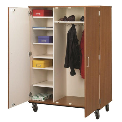Closed Shelf And Coat Combo Mobile Storage Cabinet