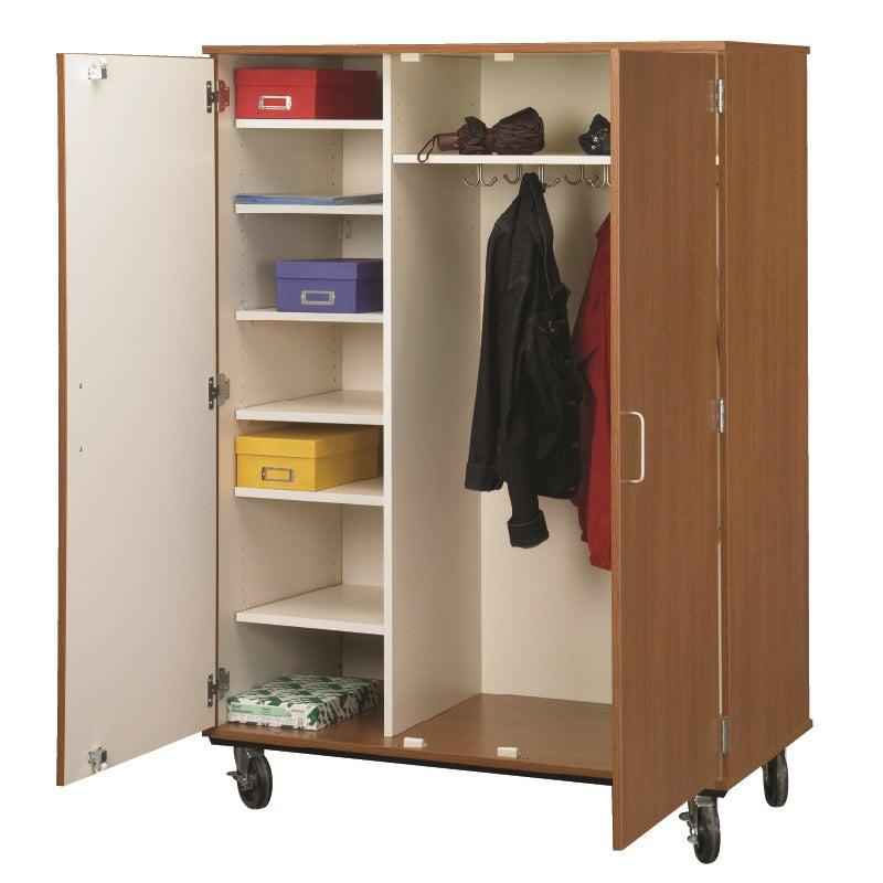 Closed Shelf And Coat Combo Mobile Storage Cabinet, Locking