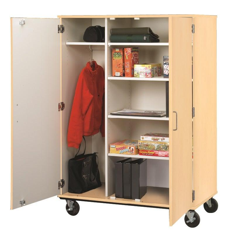 Wardrobe And Shelf Combo Mobile Storage Cabinet, Lockable