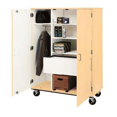 Wardrobe And File Combo Mobile Storage Cabinet, Lockable